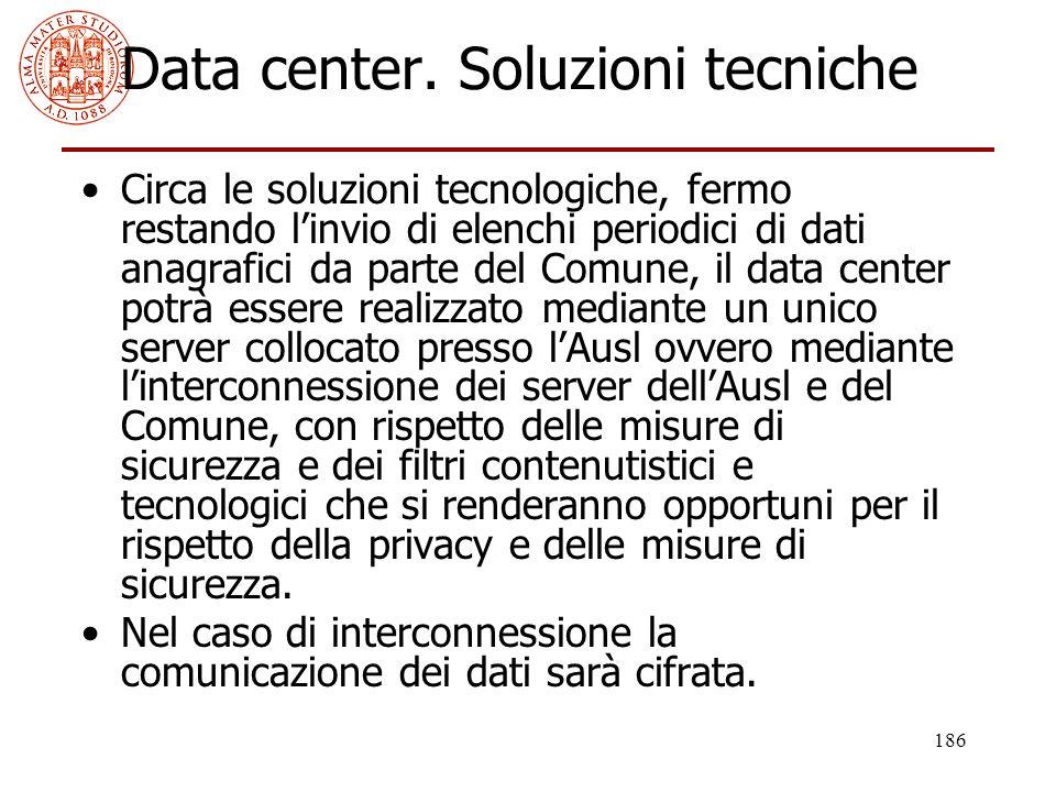 186 Data center. Soluzioni tecniche Circa le soluzioni tecnologiche, fermo restando l'invio di elenchi periodici di dati anagrafici da parte del Comun