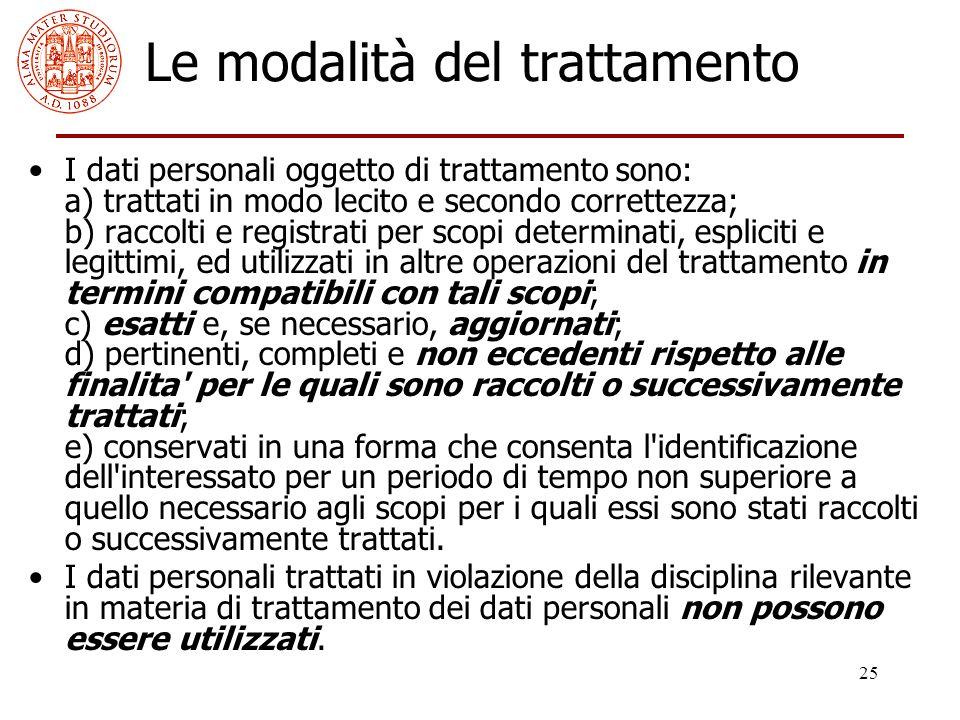 25 Le modalità del trattamento I dati personali oggetto di trattamento sono: a) trattati in modo lecito e secondo correttezza; b) raccolti e registrat