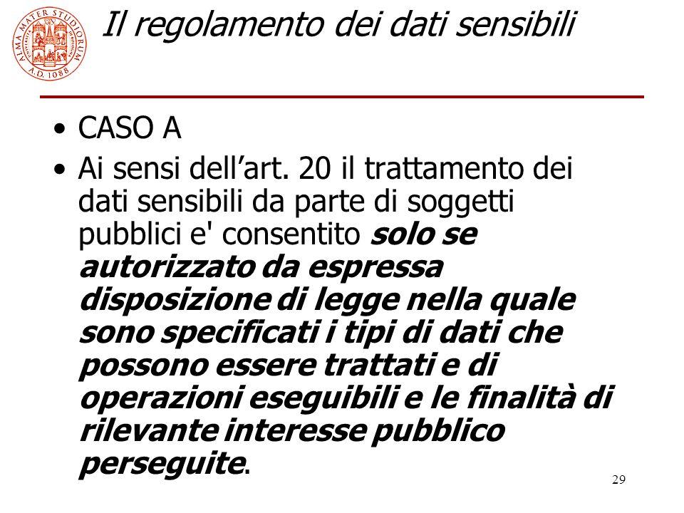 29 Il regolamento dei dati sensibili CASO A Ai sensi dell'art. 20 il trattamento dei dati sensibili da parte di soggetti pubblici e' consentito solo s