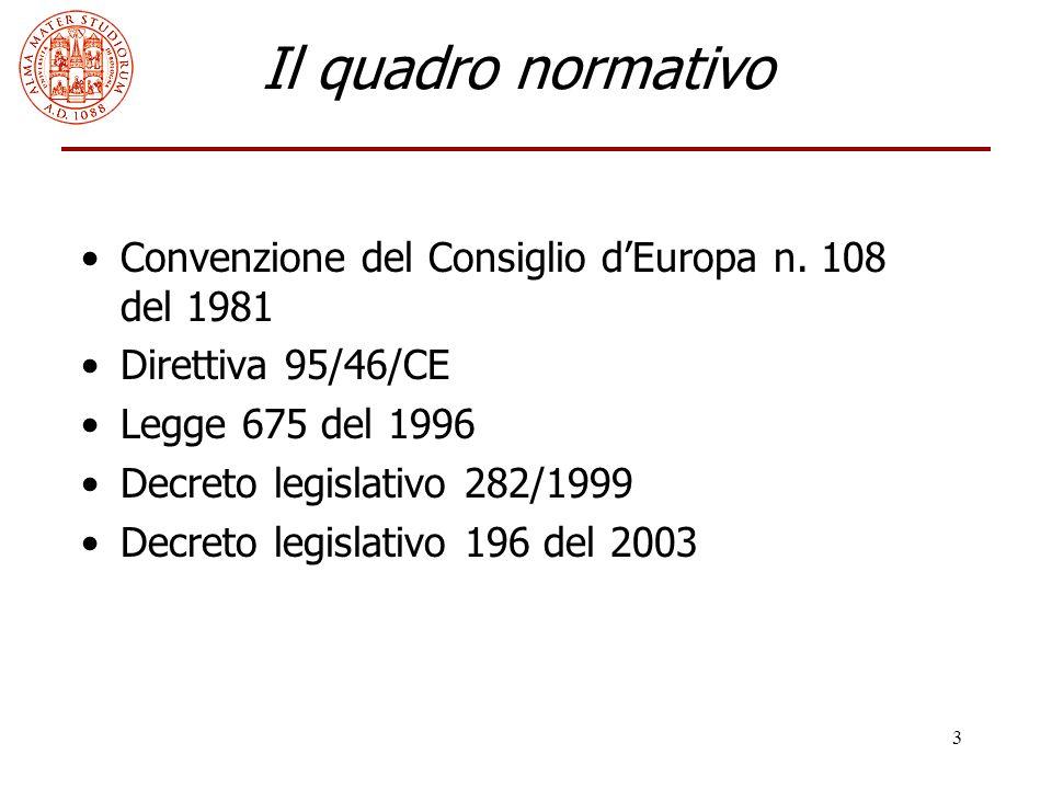 3 Il quadro normativo Convenzione del Consiglio d'Europa n. 108 del 1981 Direttiva 95/46/CE Legge 675 del 1996 Decreto legislativo 282/1999 Decreto le