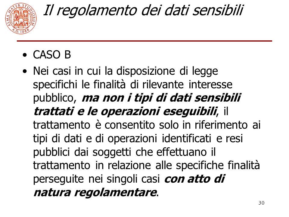 30 Il regolamento dei dati sensibili CASO B Nei casi in cui la disposizione di legge specifichi le finalità di rilevante interesse pubblico, ma non i