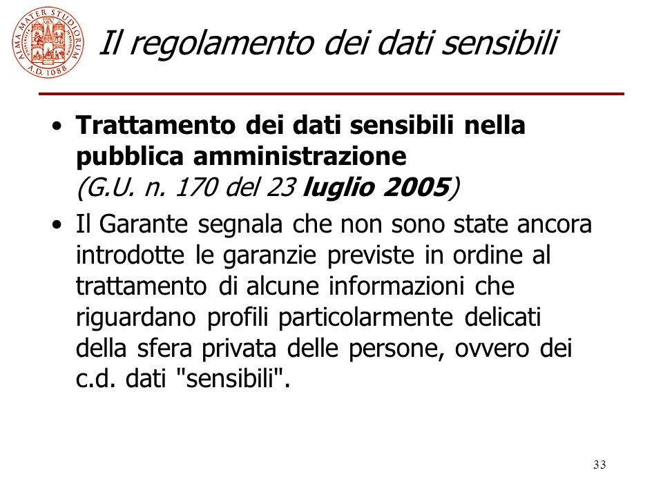 33 Il regolamento dei dati sensibili Trattamento dei dati sensibili nella pubblica amministrazione (G.U. n. 170 del 23 luglio 2005) Il Garante segnala