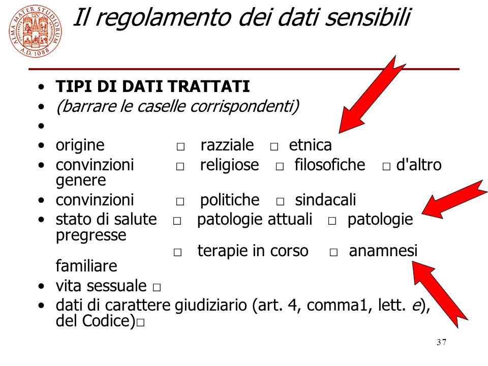37 Il regolamento dei dati sensibili TIPI DI DATI TRATTATI (barrare le caselle corrispondenti) origine □ razziale □ etnica convinzioni □ religiose □ f