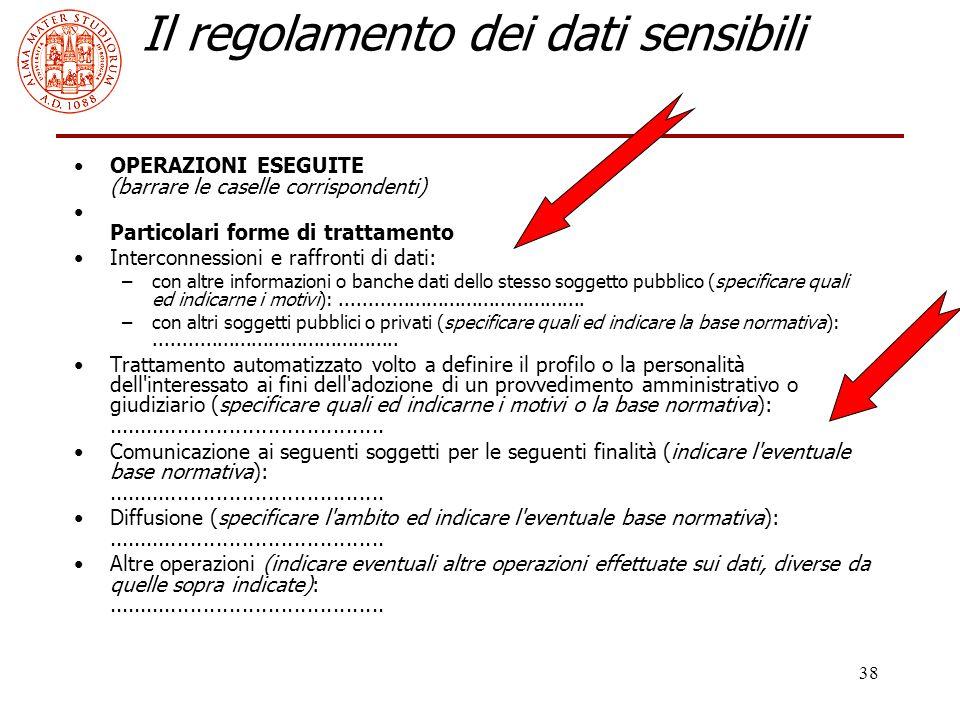 38 Il regolamento dei dati sensibili OPERAZIONI ESEGUITE (barrare le caselle corrispondenti) Particolari forme di trattamento Interconnessioni e raffr