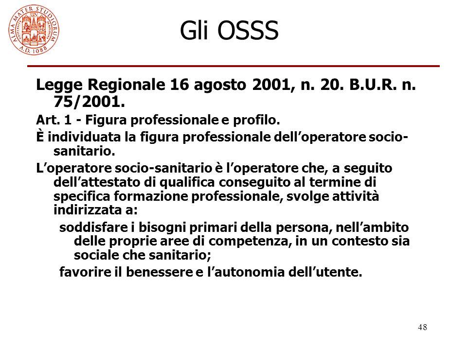 48 Gli OSSS Legge Regionale 16 agosto 2001, n. 20. B.U.R. n. 75/2001. Art. 1 - Figura professionale e profilo. È individuata la figura professionale d