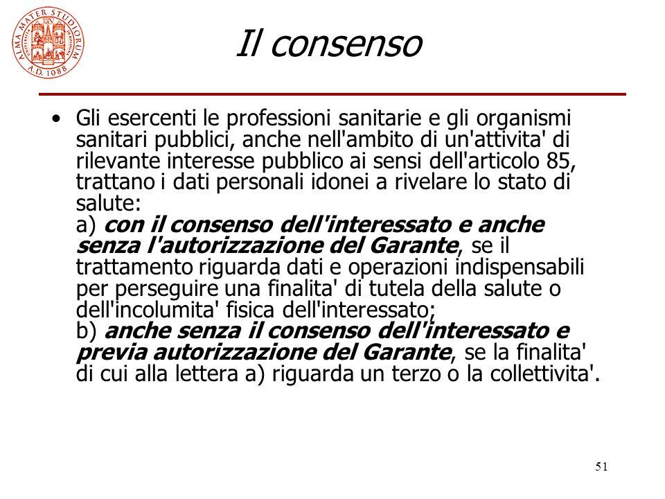 51 Il consenso Gli esercenti le professioni sanitarie e gli organismi sanitari pubblici, anche nell'ambito di un'attivita' di rilevante interesse pubb