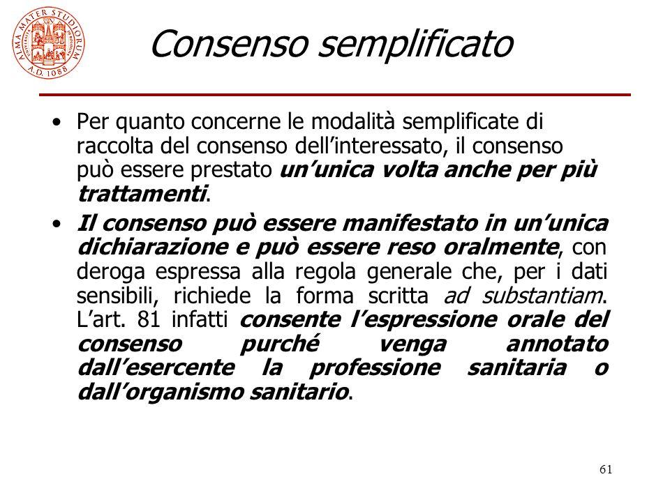 61 Consenso semplificato Per quanto concerne le modalità semplificate di raccolta del consenso dell'interessato, il consenso può essere prestato un'un