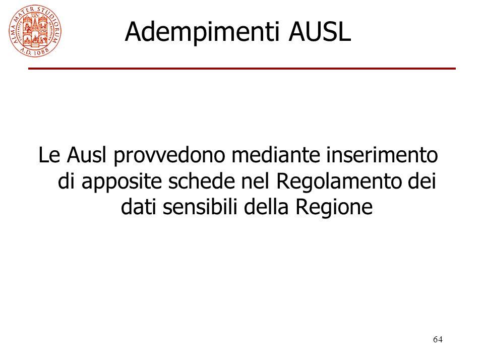 64 Adempimenti AUSL Le Ausl provvedono mediante inserimento di apposite schede nel Regolamento dei dati sensibili della Regione