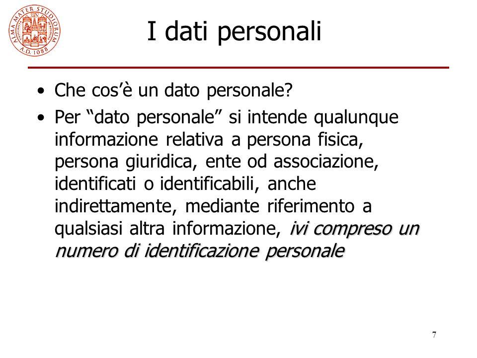 """7 I dati personali Che cos'è un dato personale? ivi compreso un numero di identificazione personalePer """"dato personale"""" si intende qualunque informazi"""