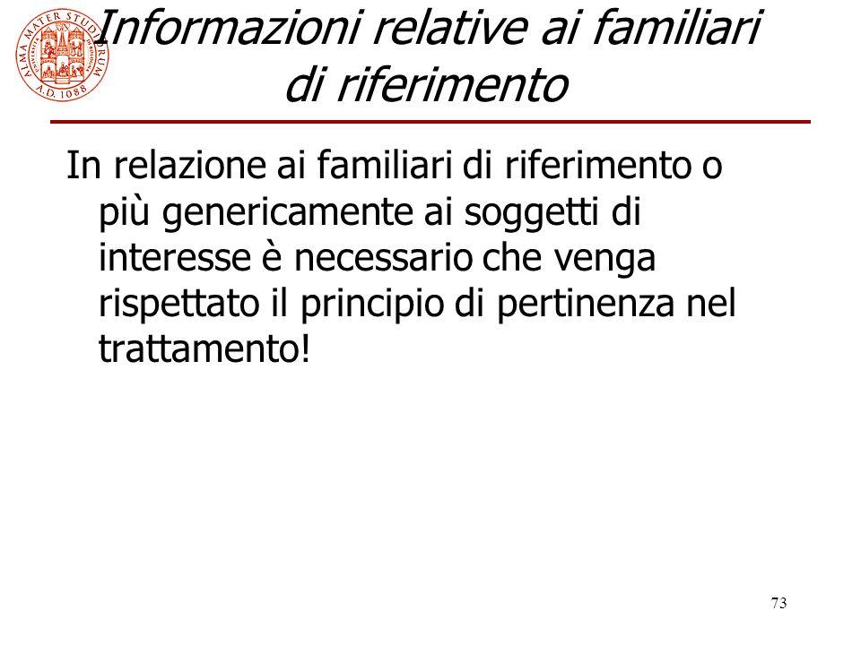 73 Informazioni relative ai familiari di riferimento In relazione ai familiari di riferimento o più genericamente ai soggetti di interesse è necessari
