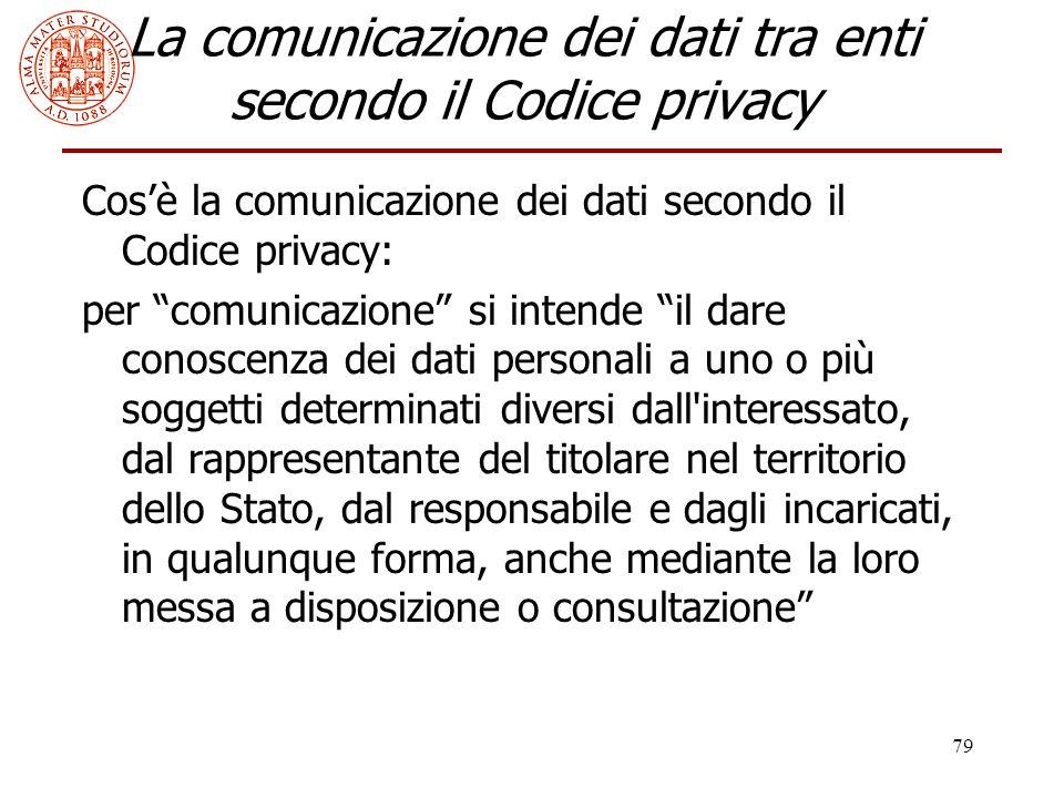 """79 La comunicazione dei dati tra enti secondo il Codice privacy Cos'è la comunicazione dei dati secondo il Codice privacy: per """"comunicazione"""" si inte"""