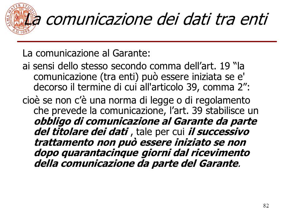 """82 La comunicazione dei dati tra enti La comunicazione al Garante: ai sensi dello stesso secondo comma dell'art. 19 """"la comunicazione (tra enti) può e"""