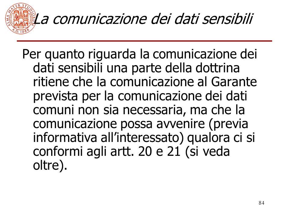 84 La comunicazione dei dati sensibili Per quanto riguarda la comunicazione dei dati sensibili una parte della dottrina ritiene che la comunicazione a