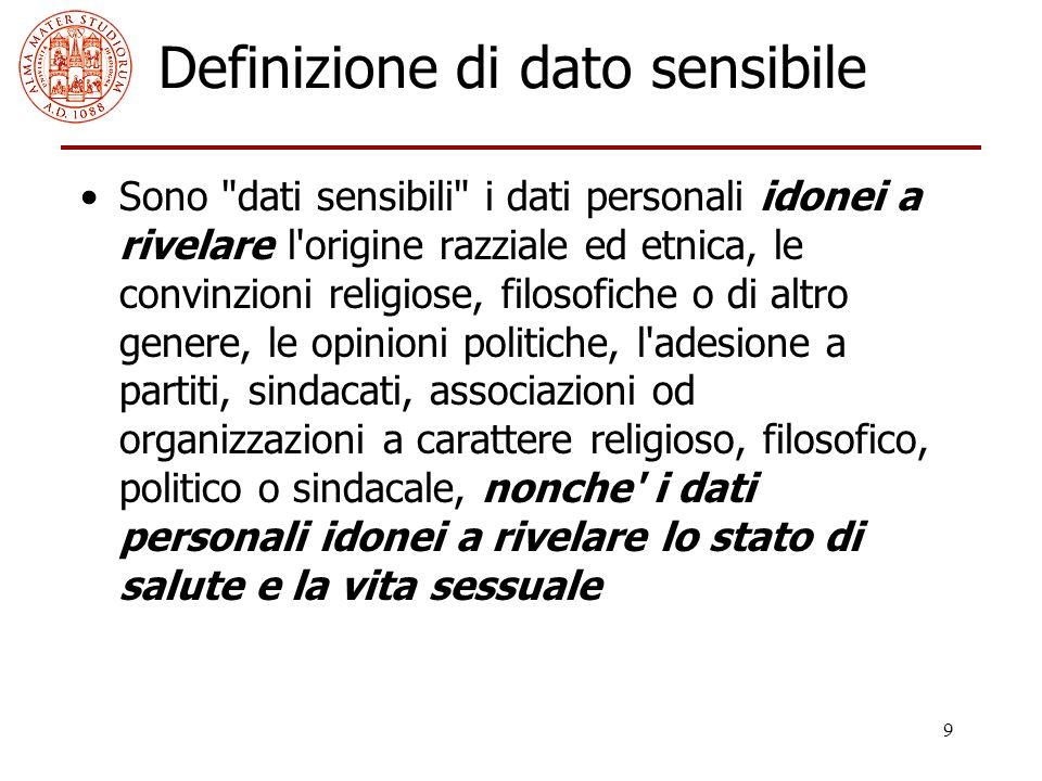 9 Definizione di dato sensibile Sono