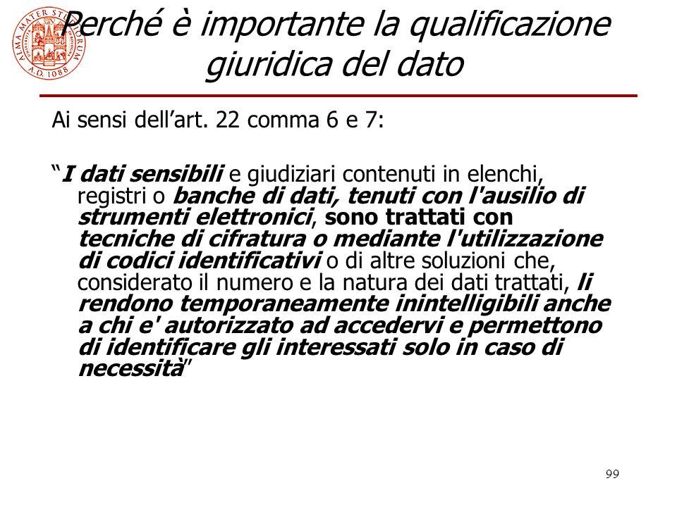 """99 Perché è importante la qualificazione giuridica del dato Ai sensi dell'art. 22 comma 6 e 7: """"I dati sensibili e giudiziari contenuti in elenchi, re"""