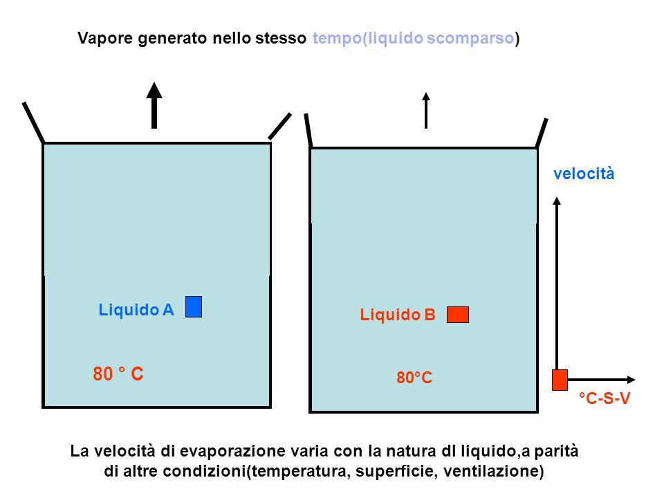 La velocità di evaporazione varia con la natura dl liquido,a parità di altre condizioni(temperatura, superficie, ventilazione) Vapore generato nello s
