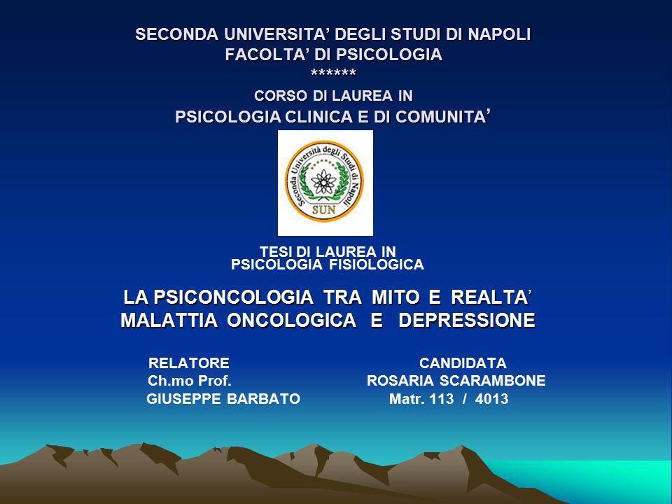 LA PSICONCOLOGIA TRA MITO E REALTA' MALATTIA ONCOLOGICA E DEPRESSIONE PARTE 1 - ( diapositive 3  21) LA PSICONCOLOGIA - Definizione ed ambiti PARTE 2 – ( diapositive 22  46) MALATTIA ONCOLOGICA & D E P R E S S I O N E PARTE 3 – ( diapositive 46  51) LE TERAPIE