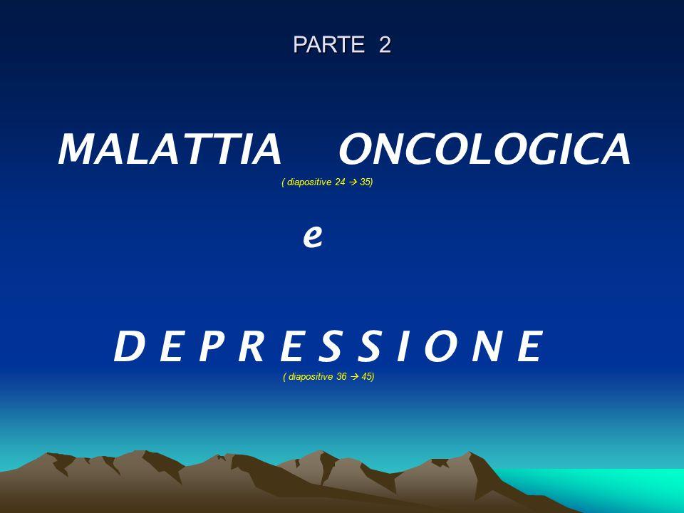 PARTE 2 MALATTIA ONCOLOGICA ( diapositive 24  35) e D E P R E S S I O N E ( diapositive 36  45)