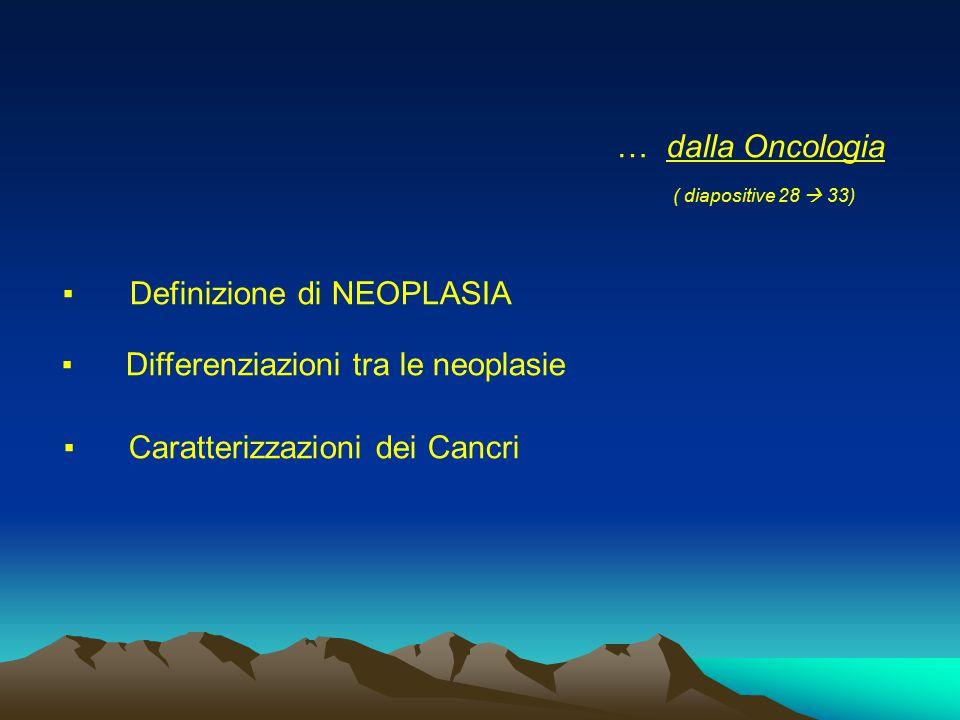 … dalla Oncologia ( diapositive 28  33) ▪ Definizione di NEOPLASIA ▪ Differenziazioni tra le neoplasie ▪ Caratterizzazioni dei Cancri