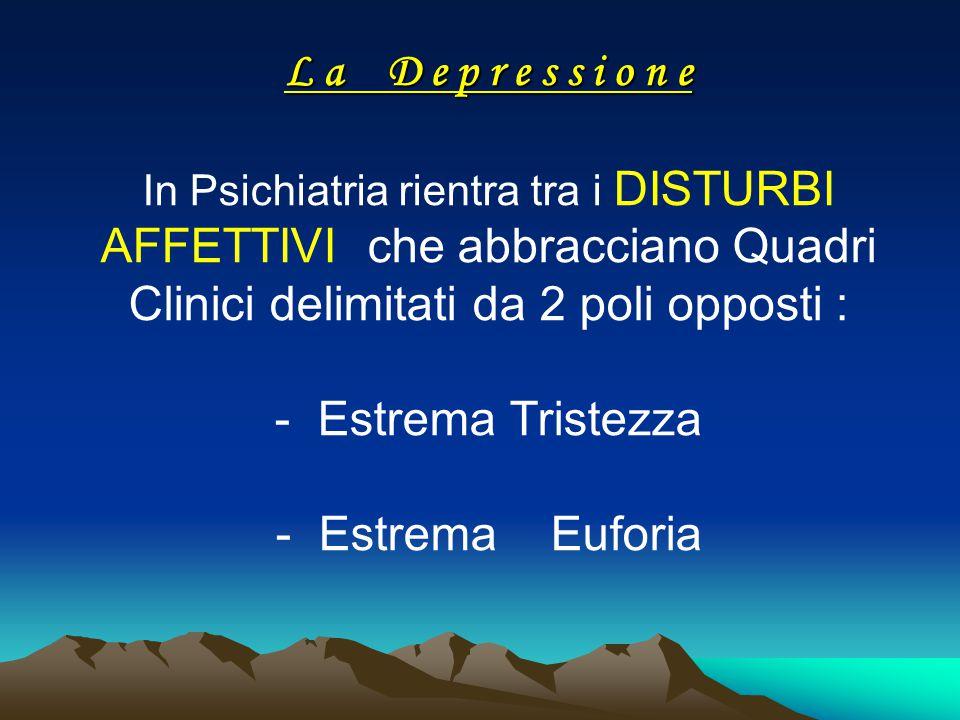 L a D e p r e s s i o n e L a D e p r e s s i o n e In Psichiatria rientra tra i DISTURBI AFFETTIVI che abbracciano Quadri Clinici delimitati da 2 pol