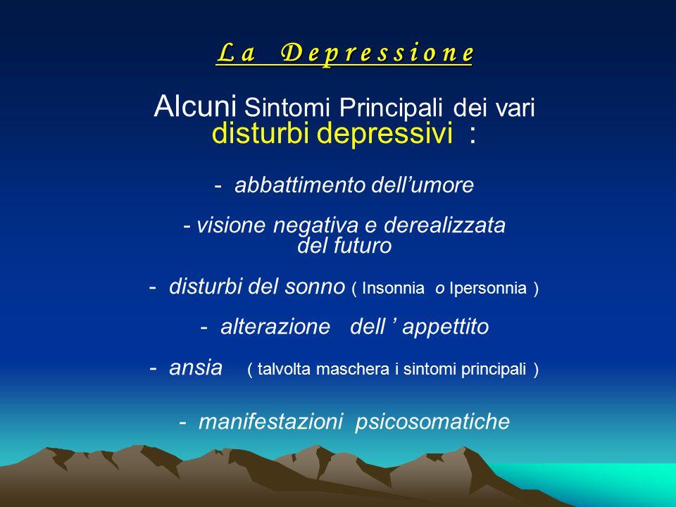 L a D e p r e s s i o n e L a D e p r e s s i o n e Alcuni Sintomi Principali dei vari disturbi depressivi : - abbattimento dell'umore - visione negat