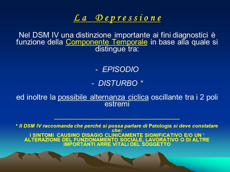 L a D e p r e s s i o n e L a D e p r e s s i o n e Nel DSM IV una distinzione importante ai fini diagnostici è funzione della Componente Temporale in