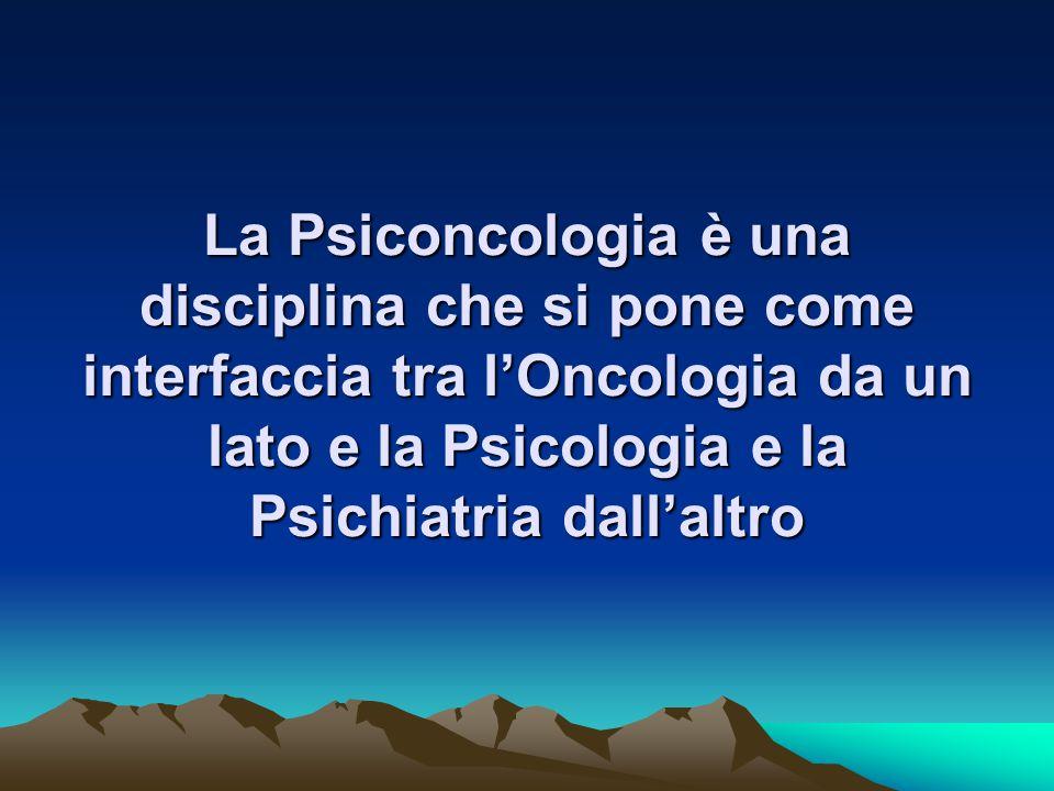 PSICONCOLOGIA : definizione ed ambiti Obiettivo principale della psiconcologia : migliorare la Qualità di Vita del malato e della sua famiglia creando..................