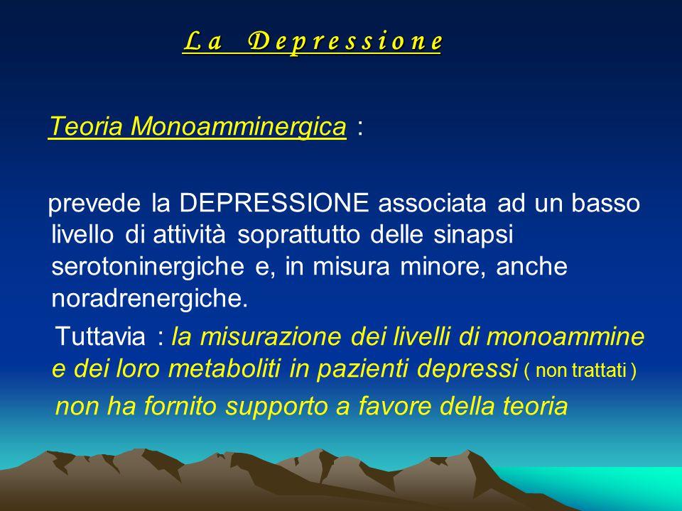 L a D e p r e s s i o n e Teoria Monoamminergica : prevede la DEPRESSIONE associata ad un basso livello di attività soprattutto delle sinapsi serotoni