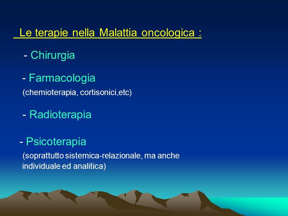 Le terapie nella Malattia oncologica : - Chirurgia - Farmacologia (chemioterapia, cortisonici,etc) - Radioterapia - Psicoterapia (soprattutto sistemic