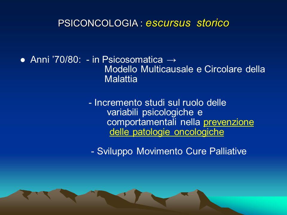 PSICONCOLOGIA : escursus storico ● Anni '70/80: - in Psicosomatica → Modello Multicausale e Circolare della Malattia - Incremento studi sul ruolo dell