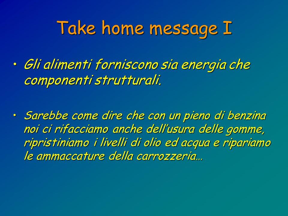 Take home message I Gli alimenti forniscono sia energia che componenti strutturali.Gli alimenti forniscono sia energia che componenti strutturali.