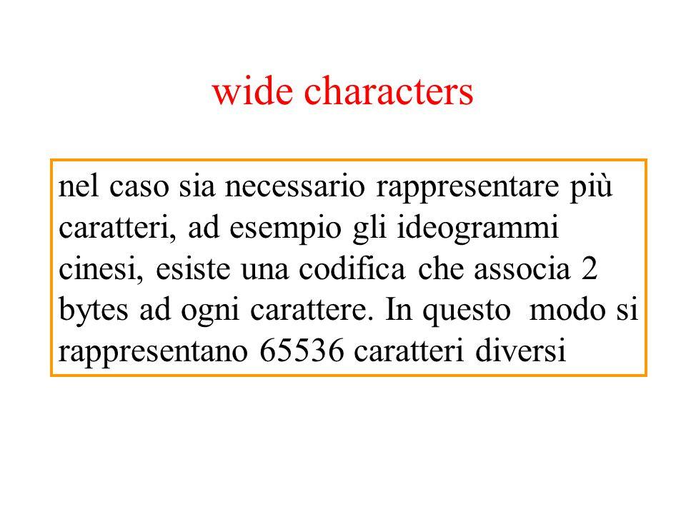 wide characters nel caso sia necessario rappresentare più caratteri, ad esempio gli ideogrammi cinesi, esiste una codifica che associa 2 bytes ad ogni carattere.