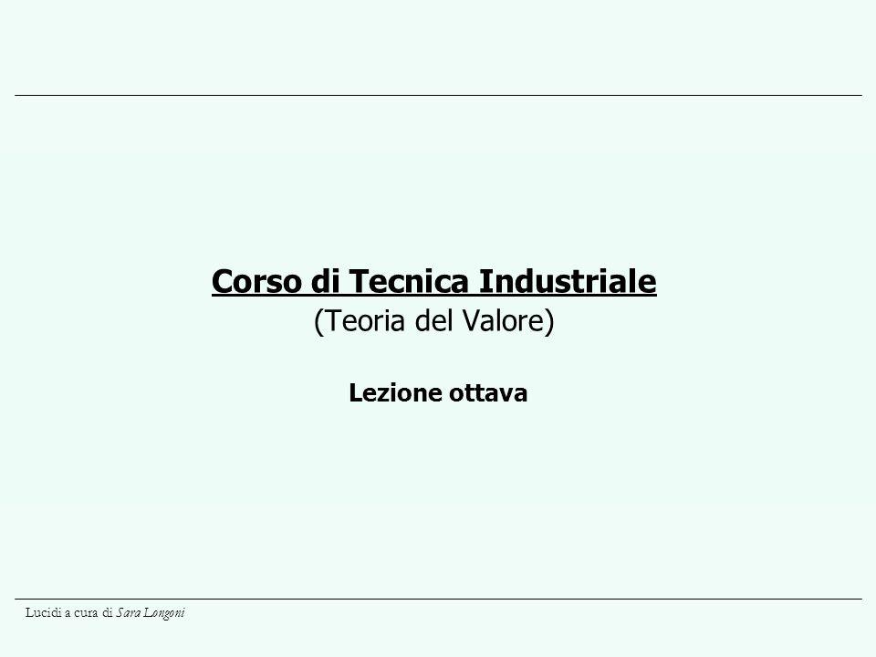 Lucidi a cura di Sara Longoni Lezione ottava Corso di Tecnica Industriale (Teoria del Valore)