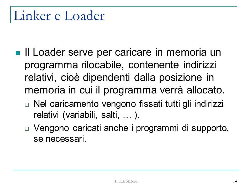 Il Calcolatore 14 Linker e Loader Il Loader serve per caricare in memoria un programma rilocabile, contenente indirizzi relativi, cioè dipendenti dalla posizione in memoria in cui il programma verrà allocato.