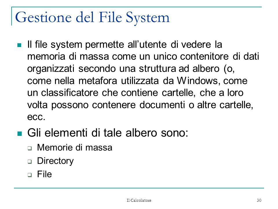 Il Calcolatore 30 Gestione del File System Il file system permette all'utente di vedere la memoria di massa come un unico contenitore di dati organizzati secondo una struttura ad albero (o, come nella metafora utilizzata da Windows, come un classificatore che contiene cartelle, che a loro volta possono contenere documenti o altre cartelle, ecc.