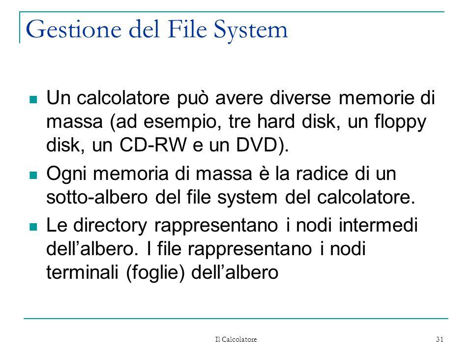 Il Calcolatore 31 Gestione del File System Un calcolatore può avere diverse memorie di massa (ad esempio, tre hard disk, un floppy disk, un CD-RW e un DVD).