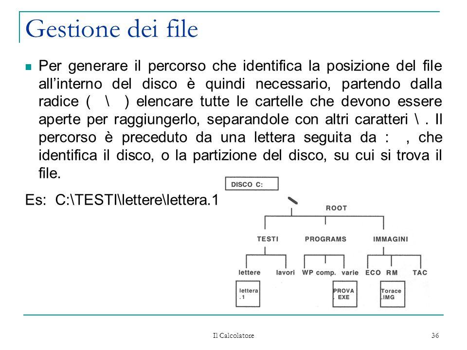 Il Calcolatore 36 Gestione dei file Per generare il percorso che identifica la posizione del file all'interno del disco è quindi necessario, partendo dalla radice ( \ ) elencare tutte le cartelle che devono essere aperte per raggiungerlo, separandole con altri caratteri \.