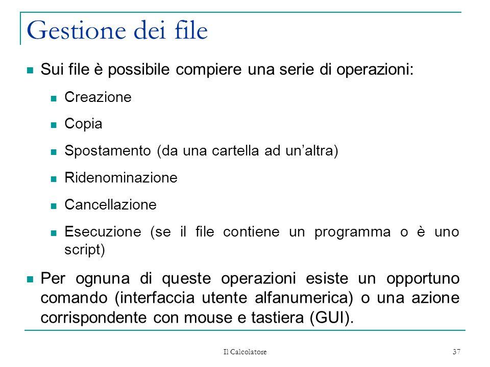 Il Calcolatore 37 Gestione dei file Sui file è possibile compiere una serie di operazioni: Creazione Copia Spostamento (da una cartella ad un'altra) Ridenominazione Cancellazione Esecuzione (se il file contiene un programma o è uno script) Per ognuna di queste operazioni esiste un opportuno comando (interfaccia utente alfanumerica) o una azione corrispondente con mouse e tastiera (GUI).