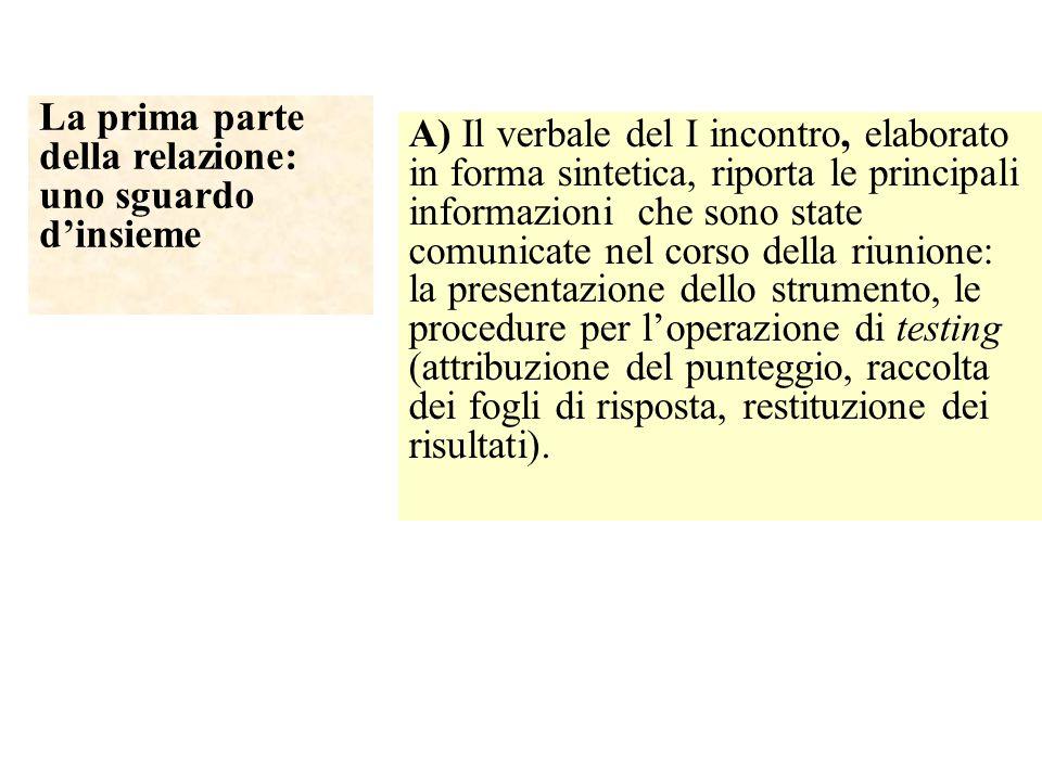 La prima parte della relazione: uno sguardo d'insieme A) Il verbale del I incontro, elaborato in forma sintetica, riporta le principali informazioni c