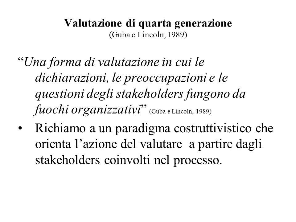 """Valutazione di quarta generazione (Guba e Lincoln, 1989) """"Una forma di valutazione in cui le dichiarazioni, le preoccupazioni e le questioni degli sta"""