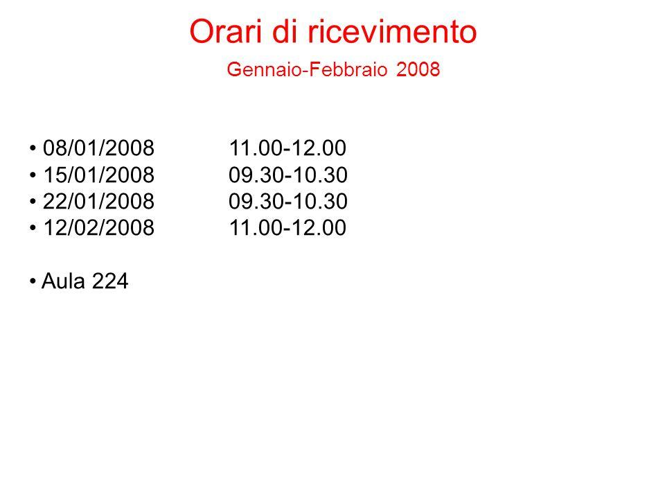 08/01/200811.00-12.00 15/01/200809.30-10.30 22/01/200809.30-10.30 12/02/200811.00-12.00 Aula 224 Orari di ricevimento Gennaio-Febbraio 2008