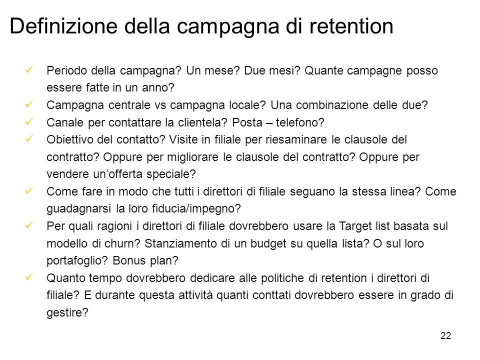 22 Definizione della campagna di retention Periodo della campagna.