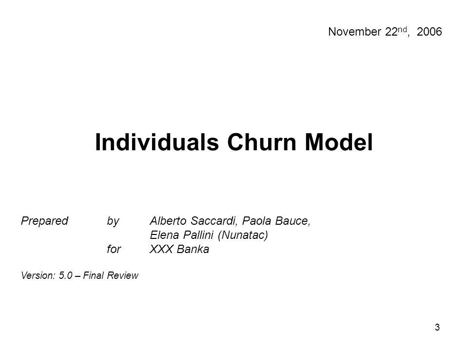 4 Dopo una serie di analisi preliminari si è deciso di considerare come evento target per il modello di Churn la prima volta in cui un cliente attivo diventa technical lost (TL2) oppure lost (LOS) all'interno di un periodo di previsione fissato.