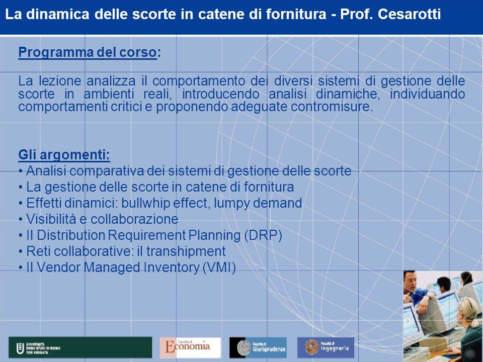 La dinamica delle scorte in catene di fornitura - Prof.