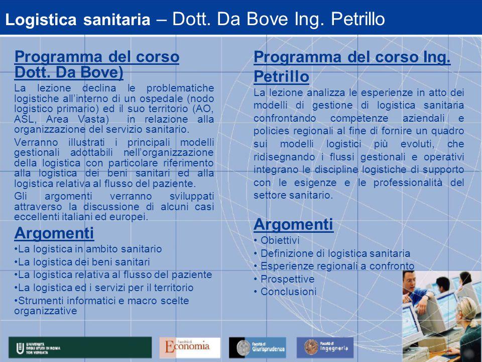 Logistica sanitaria – Dott. Da Bove Ing. Petrillo Programma del corso Dott.