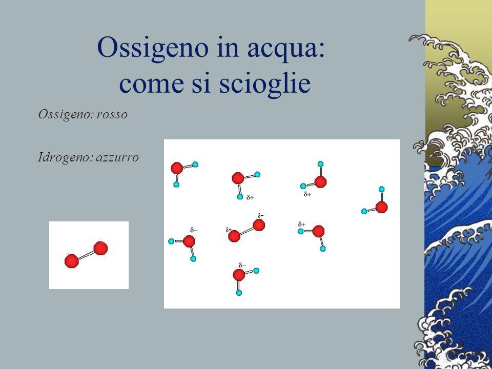 Ossigeno in acqua: come si scioglie Ossigeno: rosso Idrogeno: azzurro