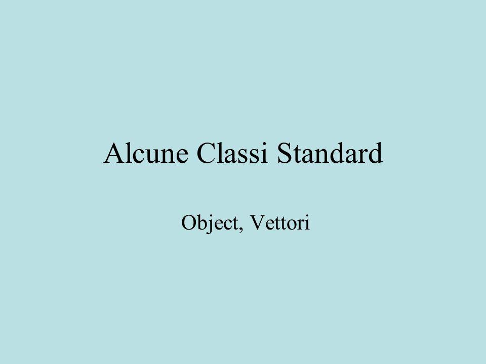 Tipo Simili agli array a parte il fatto che -la dimensione di un vettore può variare durante l esecuzione di un programma - non vanno creati per un tipo prefissato, le posizioni del Vector hanno un tipo generico Object -quindi possono contenere oggetti di ogni tipo anche tra loro disomogenei (tipo String o Integer) grazie al principio di sostituzione Vector
