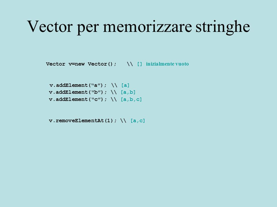 "Vector per memorizzare stringhe Vector v=new Vector(); \\ [] inizialmente vuoto v.addElement(""a""); \\ [a] v.addElement(""b""); \\ [a,b] v.addElement(""c"""