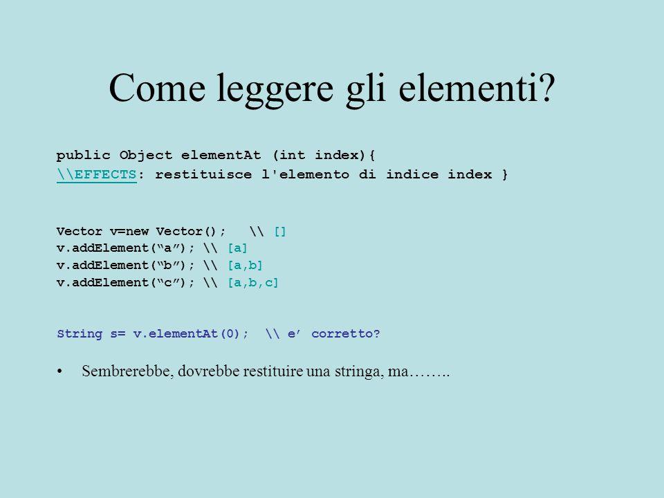 Come leggere gli elementi? public Object elementAt (int index){ \\EFFECTS\\EFFECTS: restituisce l'elemento di indice index } Vector v=new Vector(); \\