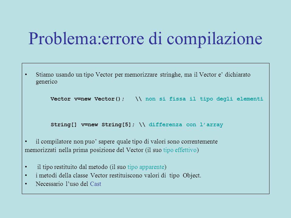 Problema:errore di compilazione Stiamo usando un tipo Vector per memorizzare stringhe, ma il Vector e' dichiarato generico Vector v=new Vector(); \\ non si fissa il tipo degli elementi String[] v=new String[5]; \\ differenza con l'array il compilatore non puo' sapere quale tipo di valori sono correntemente memorizzati nella prima posizione del Vector (il suo tipo effettivo) il tipo restituito dal metodo (il suo tipo apparente) i metodi della classe Vector restituiscono valori di tipo Object.
